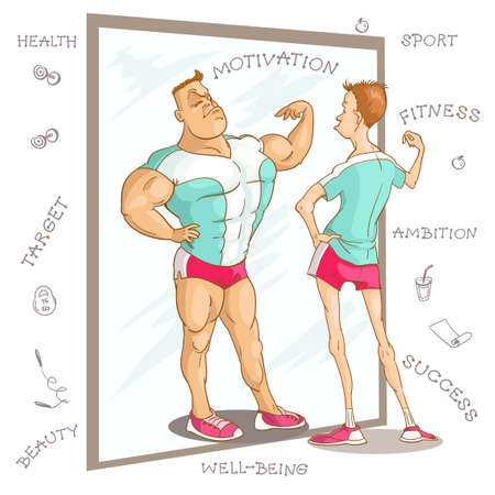 Vector caricature illustration. Cartoon funny man in a fitness class looks at his reflection in the mirror and dreams. The concept of motivation for physical education and a healthy lifestyle.