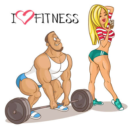 Vector caricature. Cartoon funny illustration. A beautiful woman athlete distracts a man who is engaged with a barbell. The concept of an attractive sporty appearance. Motivation for sports.