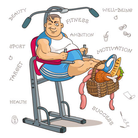 Cartoon vector illustration. Cartoon funny man in fitness class with heavy food. The concept of motivation for exercise, diet and a healthy lifestyle.