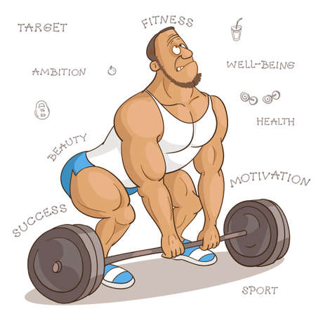 Vector cartoon illustration. Cartoon funny man in fitness class trying to lift a very heavy barbell. The concept of a competent and correct approach to sports.