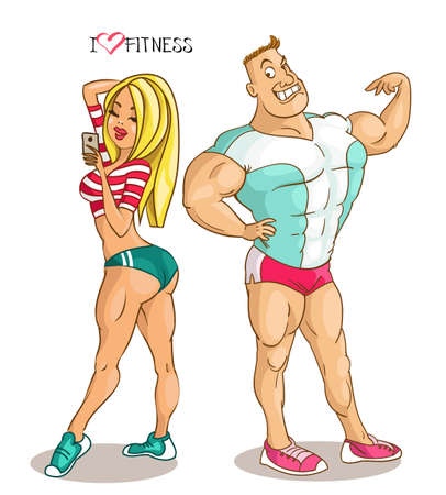 Cartoon vector illustration. Cartoon funny man and woman posing, showing excellent athletic shape.
