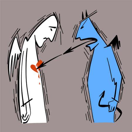 Vector illustration of philosophy. A metaphor for the psychological destruction of a person, her self-esteem with evil words. Psychology concept. Illustration