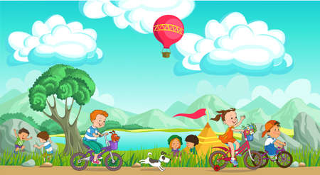 Colorful vector illustration. Summer children's rest. Happy children are resting on a picturesque meadow. They ride bicycles, play against the backdrop of mountains and blue skies.