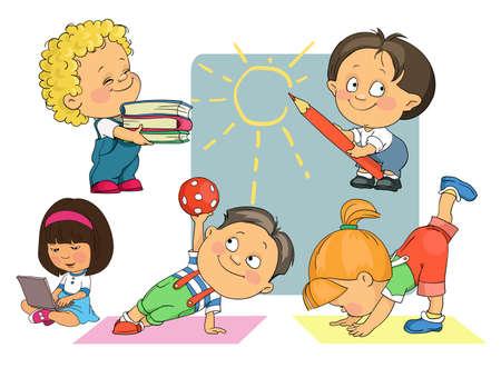 Bright vector cartoon. Children play, do gymnastics, study. Isolated objects.