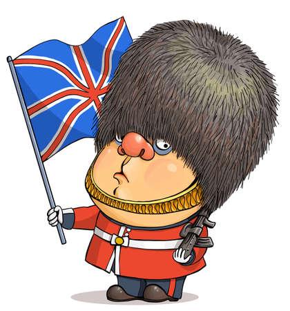 Funny cartoon vector. Illustration of a cute British guardsman wearing a Buckingham Palace bear hat holding a United Kingdom flag Illustration