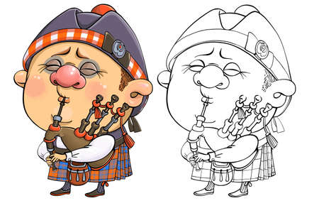 Vector cartoon for coloring. A funny illustration of a cute British piper in national costume with a musical instrument.