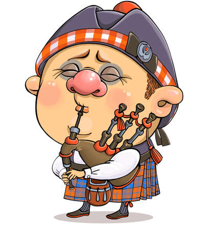 Vector cartoon. A funny illustration of a cute British piper in national costume with a musical instrument. Иллюстрация