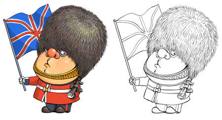Vector cartoon for coloring. Funny illustration of a cute british guardsman holding the national flag of Great Britain