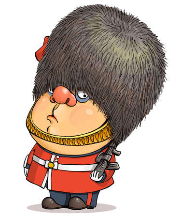 Funny cartoon vector. Illustration of a cute British guardsman wearing a Buckingham Palace bear hat. Иллюстрация