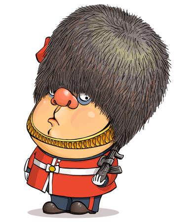 Funny cartoon vector. Illustration of a cute British guardsman wearing a Buckingham Palace bear hat. Illustration