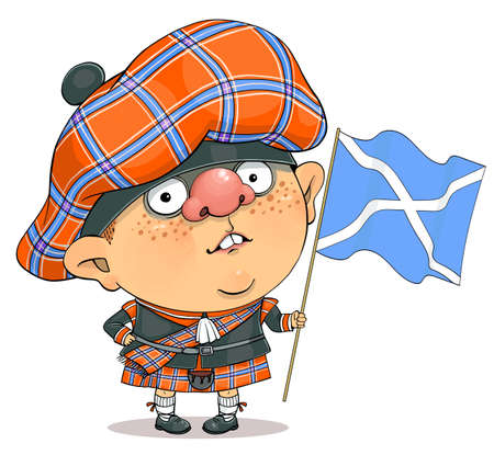 Funny cartoon vector. Illustration of a cute british guy in a Scottish national costume and the flag of Scotland Illustration