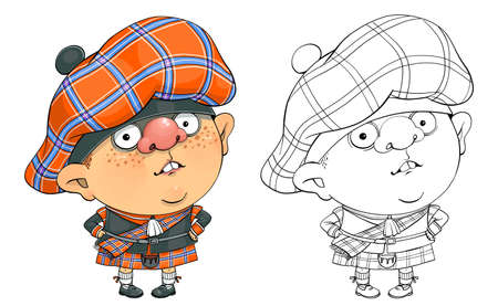 Vector cartoon for coloring. A funny illustration of a cute Scottish guy in a national costume. Иллюстрация