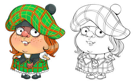 Vector cartoon for coloring. Funny illustration of a pretty Scottish woman in national costume. Иллюстрация