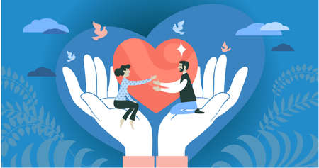 Vector illustration. The concept of social support, love, charity, protection and hope. People stretch out their hands to each other, sitting in abstract palms. Against the background of a big heart.