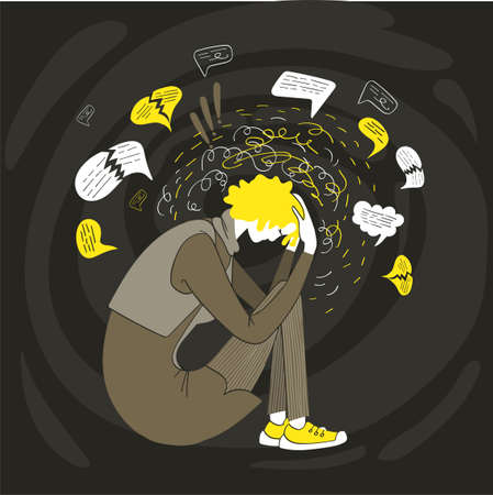 Vector illustration of philosophy. Psychological drama. Mental disorder. A woman in despair and stress holds her head with her hands. Scraps of her depressing thoughts are everywhere. Illustration