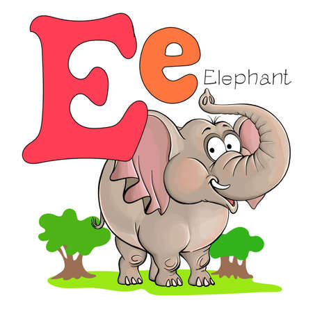 Vector illustration. Alphabet with animals. Large capital letter E with a picture of a bright, cute elephant.