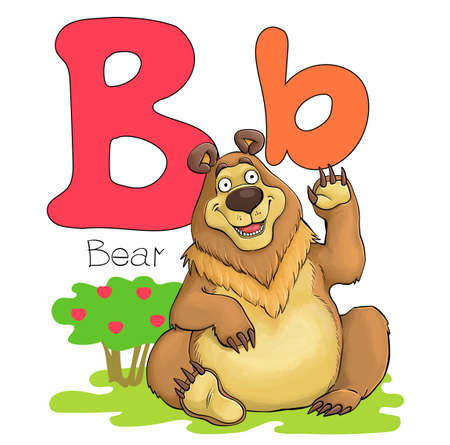 Vector illustration. Alphabet with animals. Large capital letter B with a picture of a bright cute bear Illustration