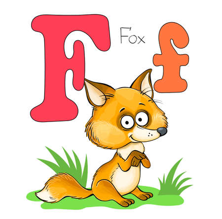 Vector illustration. Alphabet with animals. Large capital letter F with a picture of a bright cute fox.