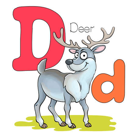 Vector illustration. Alphabet with animals. Large capital letter D with a picture of a bright cute deer.
