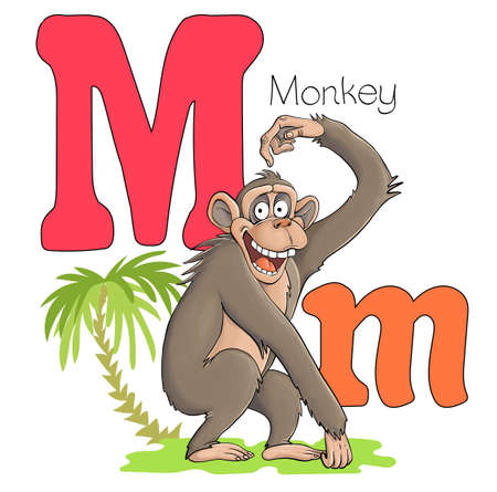 Vector illustration. Alphabet with animals. Large capital letter M with a picture of a bright, cute monkey. Illustration
