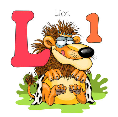 Vector illustration. Alphabet with animals. Large capital letter L with a picture of a bright cute lion. Illustration