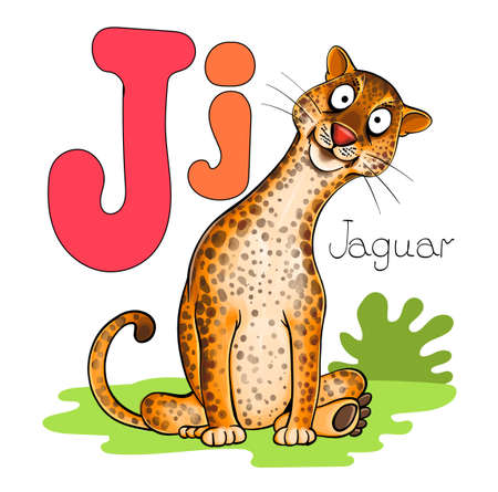 Vector illustration. Alphabet with animals. Large capital letter J with a picture of a bright, cute jaguar.