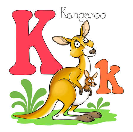 Vector illustration. Alphabet with animals. Large capital letter K with a picture of a bright, cute kangaroo.