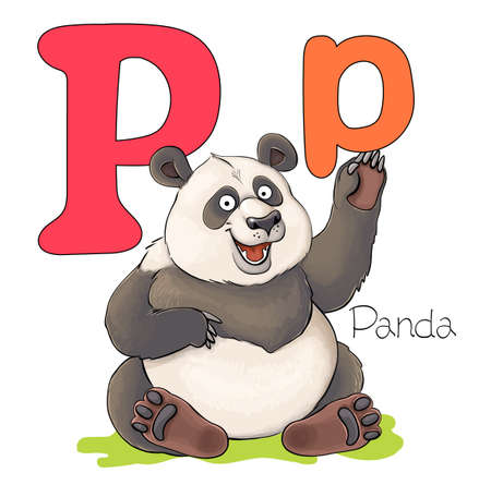 Vector illustration. Alphabet with animals. Large capital letter P with a picture of a bright cute panda.