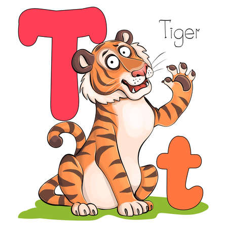 Vector illustration. Alphabet with animals. Large capital T with a picture of a bright, cute tiger.