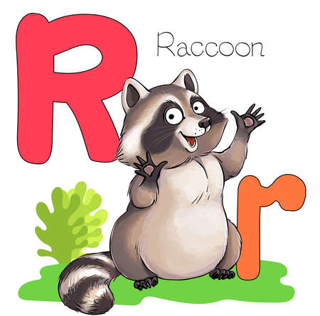 Vector illustration. Alphabet with animals. Large capital letter R with a picture of a bright cute raccoon.