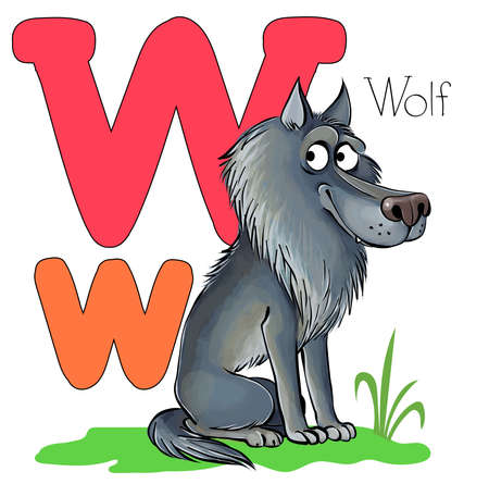 Vector illustration. Alphabet with animals. Large capital letter W with a picture of a bright, cute wolf.