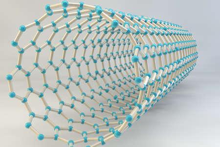 3d carbon: Carbon nanotube - 3D render