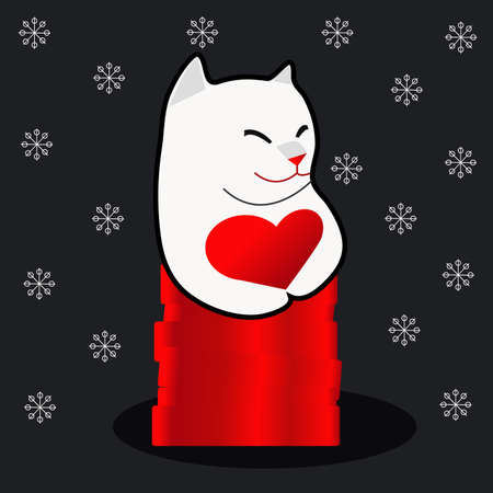 White cat and heart