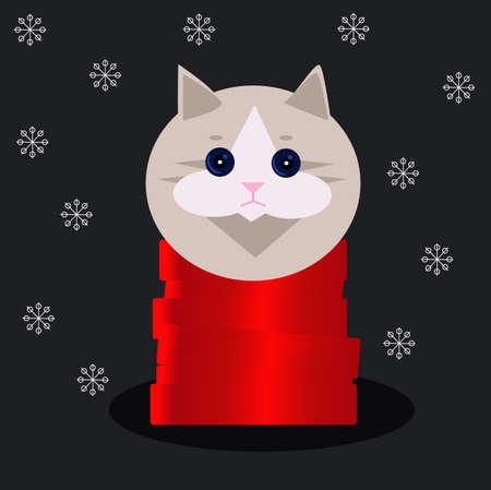Cute cat and snow Ilustração