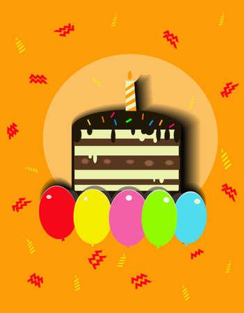 Schokoladengeburtstagskuchen und -ballone Standard-Bild - 90873353