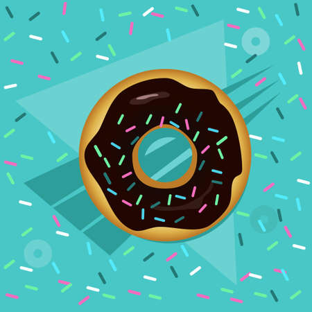 Sweet donuts on a mint background
