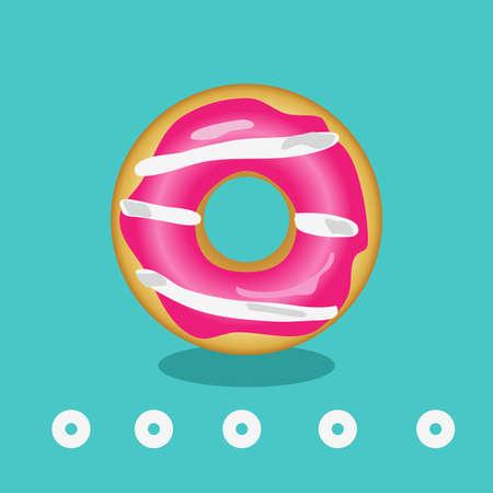 Sweet donut on a mint background 向量圖像
