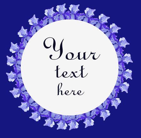 Purple round iris frame on a blue background