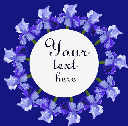 Blue iris flower round frame on a blue background