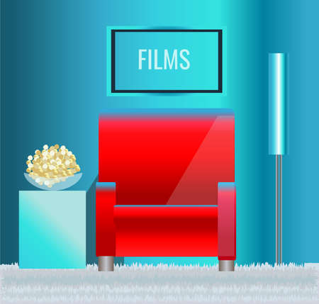 Home theater with red chair and popcorn