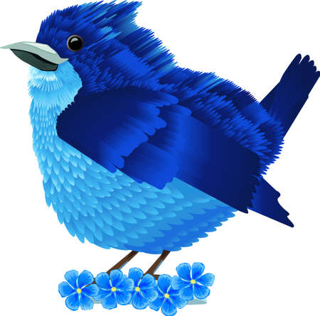 Blue bird and flowers isolated vector illustration Illustration