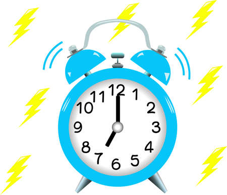 Rings blue alarm clock.