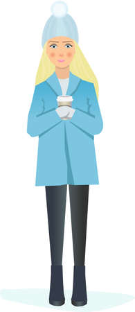 The girl with blond hair with a cup of coffee Illustration