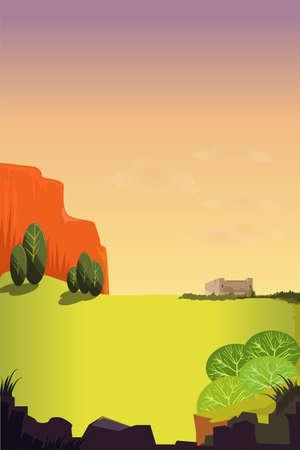 Beautiful vector landscape. Çizim