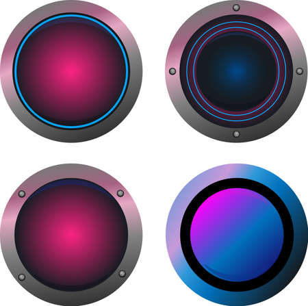 Pink and blue round play button