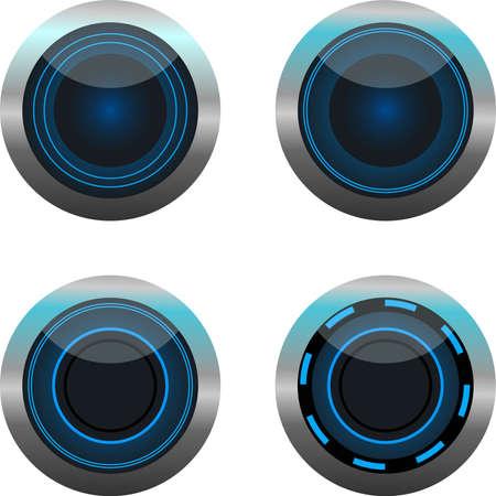 Neon blue round play button