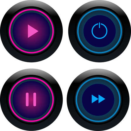 Pink and blue round play button.