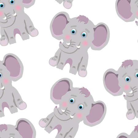 Cute purple elephant sits on a white background 向量圖像