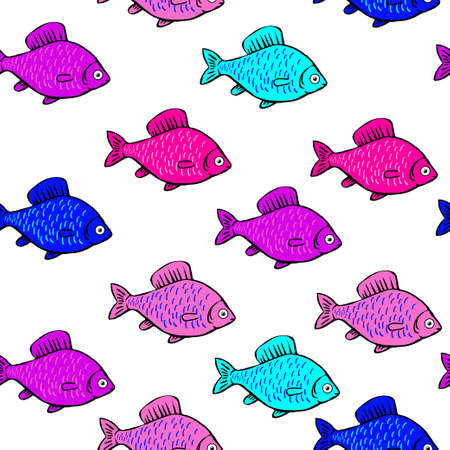 Pattern of brightly colored fish Иллюстрация