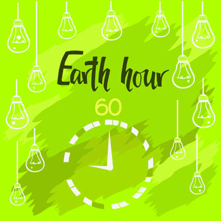 earth hour green greeting card with clock